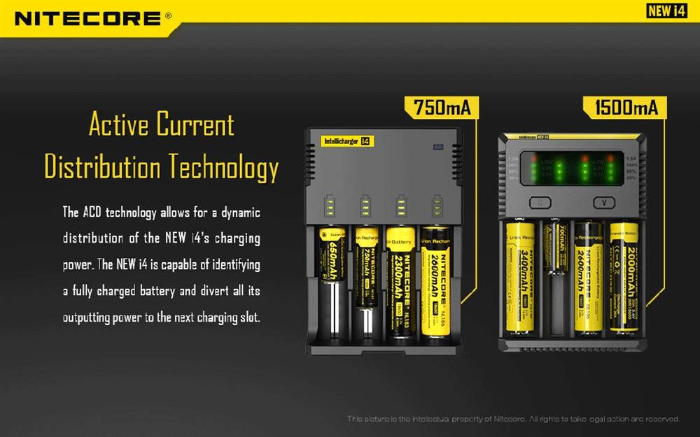 Nitecore New I4 2016 Intellicharger Four Channel Universal