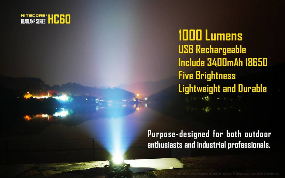 Nitecore Hc60 1000 Lumen Rechargeable Led Headlamp