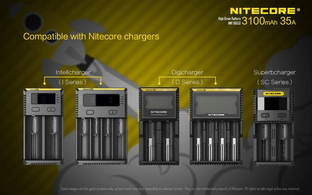 Nitecore IMR 3100 mAh 35A 18650 Rechargeable Batteries for