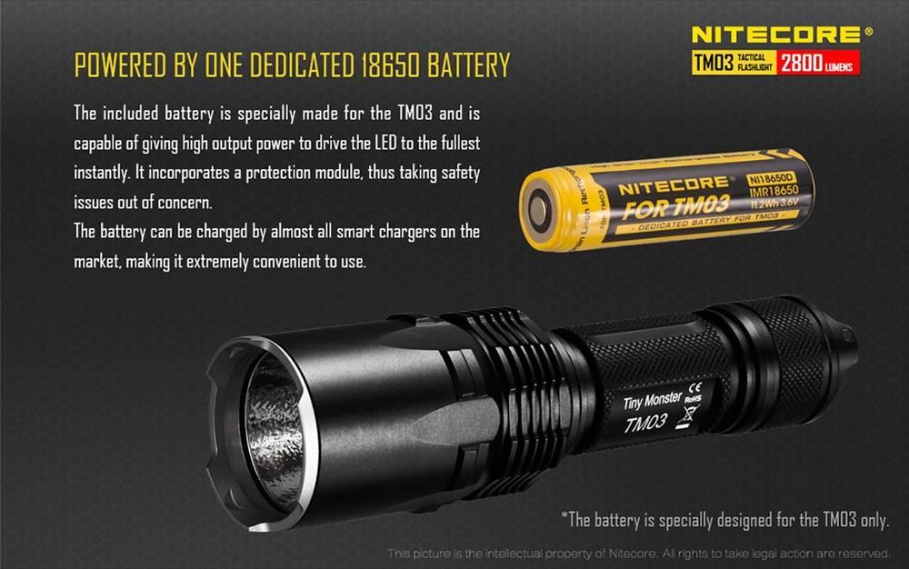 Nitecore TM03 2800 Lumens Rechargeable LED Flashlight